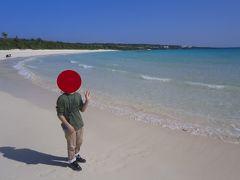 伊良部島の渡口の浜に到着しました。ここも海がきれで、真っ白な砂浜が500メートルほど続いています。
