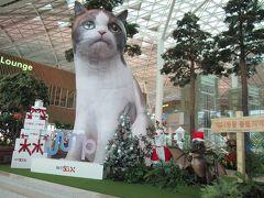 <仁川国際空港> ターミナル2で猫さんのハリボテがお出迎え。 仁川からチェンマイまでの直行便、大韓航空だけでも2便/日、LCCも複数あり便利です。