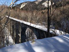 続いて駐車場北300mほどにある旧国鉄士幌線第五音更川橋梁へと足を運んでみました。 国道脇から林の中へと続く小径を少し分け入るのですがここも踏み跡なし。 最初は躊躇しましたが、長靴の威力を信じ意を決してエイヤっと踏み込みます。 ひとたび入り込んでしまえば怖いものなし! むしろ真っさらの雪道を歩く爽快感のほうが勝ると言うものです。 少し進んだ先からは第五音更川橋梁の姿を間近に見ることができました。