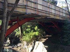 等々力渓谷の名所「ゴルフ橋」はタイミング悪く工事中(・H・)