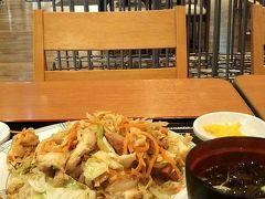 15時、ホテルへ行く前に小禄のイオンのフードコートでフーチャンプルー定食¥660を食します。