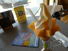 「宮崎で遊ぼうクーポン」3枚を使用してマンゴーソフトクリーム。 豪勢です。 定価680円がクーポン3枚利用、ということは80円分お得。