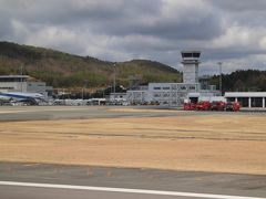 広島空港到着、定刻でした。