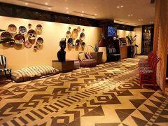 ダイワロイヤルホテルD-CITY 大阪東天満。 ロビーです。  なぜかアフリカテイストのホテル。 とても綺麗でした。