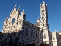 ドゥオーモの正面に来ました。 ゴシック式のファサードは白い大理石に赤や緑の石が混ざり、非常に色鮮やかです。 また、上部は金の装飾が施され、キラキラ輝いています。 このファサードを見て、1年前に行ったオルヴィエートの大聖堂を思い出しました。 オルヴィエートも感動しましたが、シエナの方が1.3倍くらい豪華です。 https://4travel.jp/travelogue/11393448  大聖堂の前の広場が狭くて距離が取れず、きれいに写真に納まらないのが残念です。