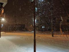 千歳市内は雪は降っていなかったが、バスで古山のあたりから、雪が降り出した。 定宿のホテルシューパロの前はこんな感じ。  本来は、あと1週間前に来るつもりだったので、長期間荷物を預かってもらった。 いつも、このホテルには、迷惑かけっぱなし。
