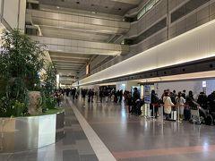 ターミナル内へ入ると…。 カウンターオープン5分前、ファースト、JGC、一般のカウンターはすでにそこそこの列に。 皆んな何時に来てるの?