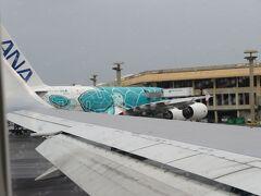 ホノルルに到着  ANAのフライング・ホヌ(FLYING HONU)が駐機しています。