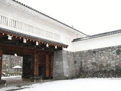 霞城公園を通過し駅方面へ。 雪が降ったりやんだりな一日。