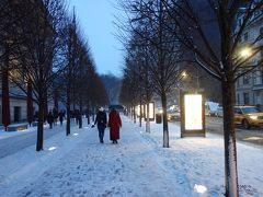 雪の中の5番街を歩き