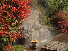 万葉公園 公園の上の方は「独歩の湯」という温泉になっています。 赤い葉は要のようですね。