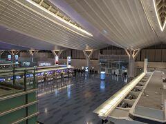 23時頃に羽田空港に到着、出発ロビーもガラガラ。