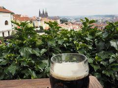 プラハ城から歩いてストラホフ修道院へ。 中を見学する前に修道院のビール醸造所でランチをしたくて、ここかな?と近くのお店へ。 食事を終えて外に出るまで気付かなかったのですが、実は店違いで、観光客狙いの悪徳なお店のようで、会計時に嫌な思いをしました。  テラス席からの景色は最高。まだこの後起こることを知らないので、ビールが美味しい!