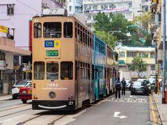 ノースポイントの次はShau Kei Wanへ ここはトラムの終点で、多くのトラムが停車しています。
