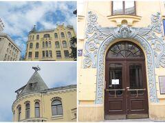 <リガ> 旧市街 Meistaru iela 10 の集合住宅、Kaķu māja (Cat House) Fridrihs Šefelsの設計、1909築。