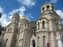 <リガ> 新市街 ロシア正教のRiga Nativity of Christ Cathedral