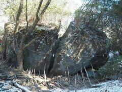 金時宿り石。この岩の下のスペースに金太郎が母と暮らしたという言い伝えがあります。割れている事が神秘的な感じを醸し出すのですが、以前は一つの巨岩で昭和6年(1931)に突如として割れたそうです。