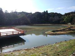 まがたま池 まがたま池は上の地図を見てもわかるように勾玉(まがたま)に似ています。池に浮かんでいるかのような舞台があり、ここで舞楽や能、その他郷土芸能が演じられます。5月~7月には菖蒲が咲くそうです。