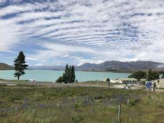 早速テカポ湖へ。ミルキーブルーと言われるテカポ湖の色。本当にその通りで、とても美しいです。 そして、雲が魚の骨みたいでおもしろい。