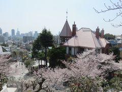 風見鶏の館。近くの北野天満神社から撮った写真です。 ちょうど満開の桜が彩りを添えていました。