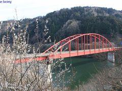 【月ヶ瀬橋】 1968年(昭和43年)竣工、ランガー橋他。  月ヶ瀬は約1万本の梅で有名ですが、満開にはまだ少し早いようでした。