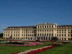 芝生の緑と鮮やかかな花々、青い空とマリア・テレジア・イエローと言われる宮殿の黄色が映えます。