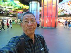 美麗島駅の光之穹頂の前で自撮り