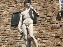 こちらはシニョーリア広場のダビデ像、ミケランジェロ広場と肌色が違うので新鮮に見えました。