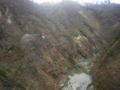 紅葉で有名な鳴子峡。鉄橋の上で少し止まります。 雪がありませんね。