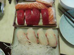マグロとサーモン、白身のお寿司。美味しい
