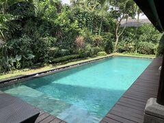 お散歩して暑くなったからプールで遊ぶよ。