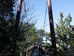 門脇吊り橋。高さ23メートル、長さ48メートル。海の真上を渡ります
