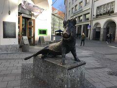 ドイツ狩猟博物館の前にある、イノシシです。 隣にナマズがあったような気がします。