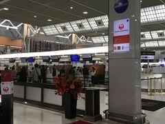 成田空港のファーストクラスチェックインから旅は始まります。ツアー本体は午前中の羽田発便でしたが月初で仕事が終わらず、夕方の成田発JL004便で追いかけるようにNYへ向かいます。
