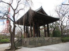 再び参道に戻りました。シダレ桜のそばに鐘楼堂がありました。お堂は戦後再建されたものですが、お堂の中に置かれた梵鐘は、350年ほど前に鋳造された高さ3.3m、重さ15tあります。大きかったです。