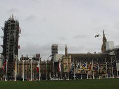 ウェストミンスター寺院のすぐ近くに、国会議事堂。 議会の国、イギリスの政治の中心です。 ビックベンは残念ながら工事中でした。