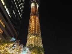 東京スカイツリーが特別カラーで点灯されてて、東京オリンピックまで157日という文字?が出てましたが、来年になっちゃいましたね