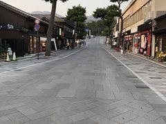 やってきました! 出雲大社の表参道です。 到着したのが夕方だったため、周囲のお店がちょうど店じまいをしている時間帯でした。 人通りもまばらで実に整然とした風景です。