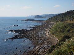 鬼の洗濯板  青島から海岸線が続いて絶景です。  砂岩と泥岩の層が繰り返し積み重なり隆起し、波に侵食されて出来上がったそうです。天然記念物。