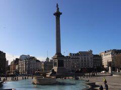大英博物館から中心街に向かって15分ほど。 トラファルガー広場。 ネルソン提督率いるイギリス海軍がナポレオンのフランス海軍に勝利したトラファルガーの海戦を記念した広場です。 ネルソン提督の銅像が頂上にある記念柱が広場の中心に立っています。