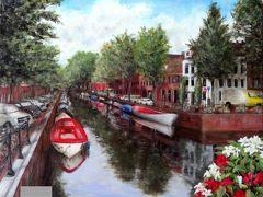 オランダの首都、アムステルダム市内です。  至る所に運河、そして停泊する小舟、さらには道沿いに花のバスケットのある古都。  世界最初のバブルが発生した街(チューリップの球根バブルという今では考えられない品目ですが)とは思えない静かな佇まい。  アムステルダム駅から国立美術館に歩いて向かう途中のひとコマですーーー。
