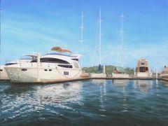 こちらはマレーシアのコタキナバルのハーバー。  南国ならではの爽やかな青空と美しい海に白いクルーザーやヨットが優美な姿を誇ります。