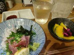 その後、駅から三百歩横丁にある「博多 魚助」さんへ。 まぐろのお刺身が300円ということで吸い込まれるように(笑)。 日本酒は福田を。長崎の日本酒ですね。