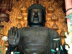 盧遮那大仏 盧舎那仏は、宇宙の真理を体得した釈迦如来の別名で、世界を照らす仏・ひかり輝く仏の意味。左手で宇宙の智慧を、右手に慈悲をあらわしながら、人々が思いやりの心でつながり、絆を深めることを願っておられるとか。(^人^)合掌
