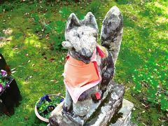 都稲荷社  宇迦之御魂神はじめ五柱の神様を総じて「稲荷大神」と称します。この社は江戸時代末期、第76代千家俊秀国造の弟、千家俊信により京都の伏見稲荷大社より御分霊をお迎えしてお祀りされその由縁から社名に「都」と名付けられました。  御狐様なので油揚げ咥えています。
