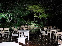 雨の庭にも出てみました。季節によってはビアガーデンとなります(この夏が最後?)