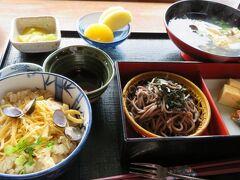 この日のランチは、宍道湖を見ながら食事が出来る日本料理「山里波」。 今回はしじみと鰻が食べられる、欲張りなセットを注文してみました。