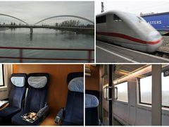 """10:50、電車はストラスブールを出発。 ライン川を渡り、ドイツに入ります。  オッフェンブルクの乗り換えは向かいのホームで、ホッ。 カールスルーエまでは、オッフェンブルク 11:30発のドイツの新幹線""""ICE""""。 このICE、バーゼル始発ベルリン行きの長~い距離を走る電車でした。  車内は空いて、パソコンでお仕事中の女性が1人座っていたコンパートメントにお邪魔させていただきます。"""