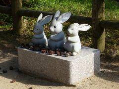 「因幡の素兎(しろうさぎ)」をモチーフにしたウサギさんの像が参道のあちこちにあります。
