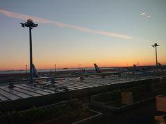 1日目: まだ暗いうちに出発。京急線は座れましたが意外と混んでいました。出発の50分前に空港到着。チェックインをスムーズに済ませ、ラウンジでおにぎりを食べているとちょうど日が昇ってきました。